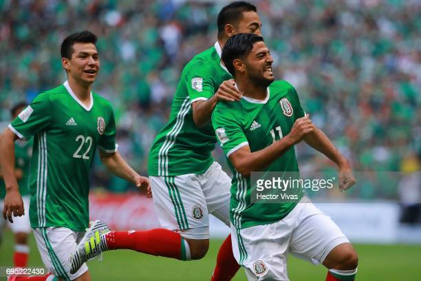 Carlos Vela of Mexico celebrates with teammates after during the match between Mexico and The United States as part of the FIFA 2018 World Cup...
