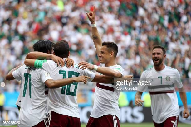 Carlos Vela of Mexico celebrates with teammates after scoring a penalty for his team's first goal during the 2018 FIFA World Cup Russia group F match...