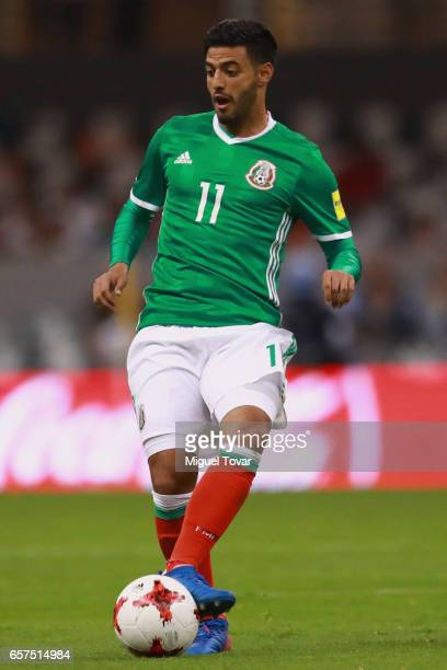 Carlos Vela of Mexico drives the ball during the fifth round match between Mexico and Costa Rica as part of the FIFA 2018 World Cup Qualifiers at...