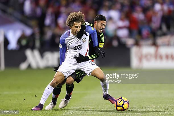 Carlos Vela of Mexico fights for the ball with Fabian Johnson of USA during the match between USA and Mexico as part of FIFA 2018 World Cup...