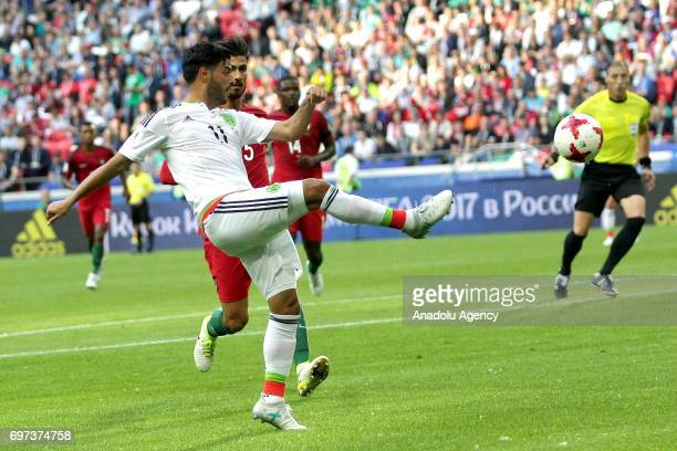 Carlos Vela of Mexico in action during the FIFA Confederations Cup 2017 group A soccer match between Portugal and Mexico at 'KazanArena' stadium in...