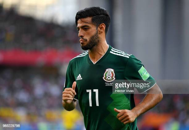 Carlos Vela of Mexico looks on during the 2018 FIFA World Cup Russia group F match between Mexico and Sweden at Ekaterinburg Arena on June 27 2018 in...