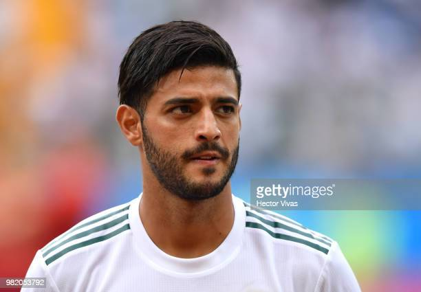 Carlos Vela of Mexico looks on prior to the 2018 FIFA World Cup Russia group F match between Korea Republic and Mexico at Rostov Arena on June 23...