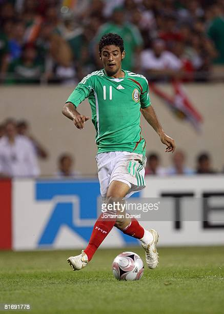 Carlos Vela of Mexico plays the ball forward against Peru during their international friendly match on June 8 2008 at Soldier Field in Chicago...