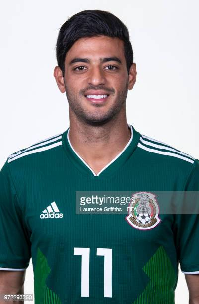 Carlos Vela of Mexico poses for a portrait during the official FIFA World Cup 2018 portrait session at the Team Hotel on June 12 2018 in Moscow Russia