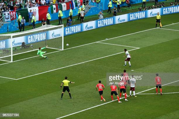 Carlos Vela of Mexico scores his team's first goal past Cho Hyun-Woo of Korea Republic from the penalty spot during the 2018 FIFA World Cup Russia...