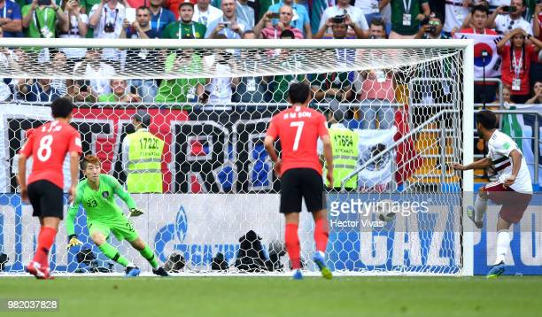 Carlos Vela of Mexico scores past Cho HyunWoo of Korea Republic his team's first goal from the penalty spot during the 2018 FIFA World Cup Russia...
