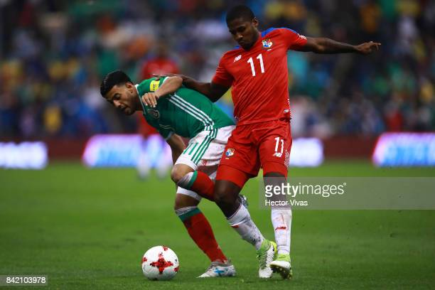 Carlos Vela of Mexico struggles for the ball with Armando Cooper of Panama during the match between Mexico and Panama as part of the FIFA 2018 World...
