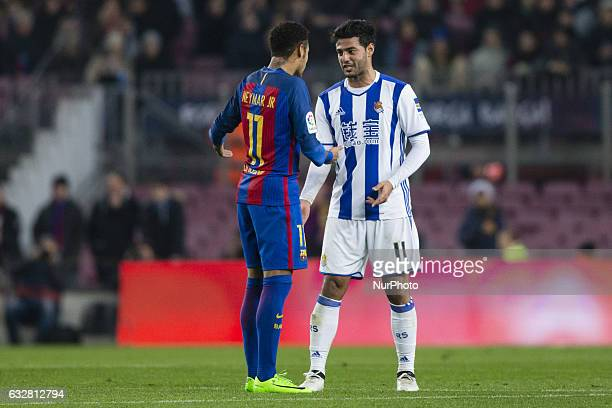 Carlos Vela of Real Sociedad arguing with Neymar da Silva of FC Barcelona during the Spanish Copa del Rey match between FC Barcelona vs Real Sociedad...