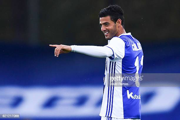 Carlos Vela of Real Sociedad de Futbol celebrates after scoring the opening goal during the La Liga match between Real Sociedad de Futbol and...