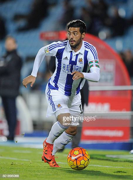 Carlos Vela of Real Sociedad de Futbol in action during the La Liga match between Getafe CF and Real Sociedad de Futbol at Coliseum Alfonso Perez...