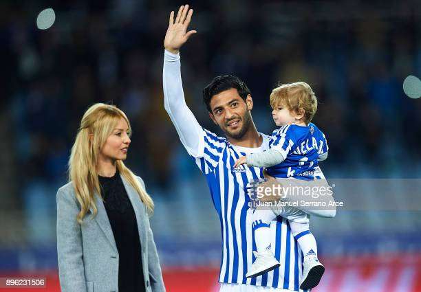 Carlos Vela of Real Sociedad is honored by the fans on his last match as player of Real Sociedad during the La Liga match between Real Sociedad and...