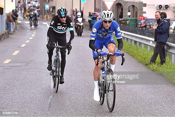 Carlos Verona and Christopher Froome during stage 5 of the Tour de Romandie on May 1 2016 in Geneva Switzerland