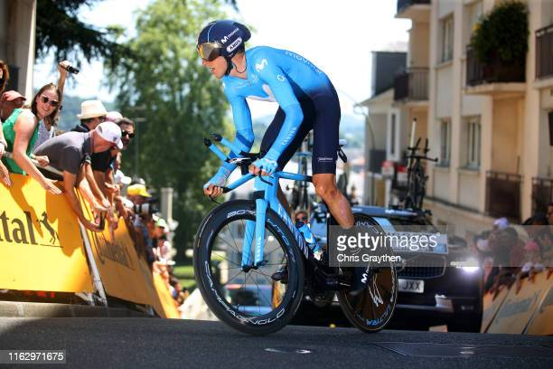Carlos Verona of Spain and Movistar Team / during the 106th Tour de France 2019 Stage 13 a 272km Individual Time Trial Stage from Pau to Pau / ITT /...