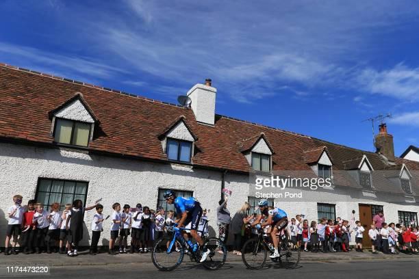 Carlos Verona of Spain and Movistar Team / Gediminas Bagdonas of Lithuania and AG2R La Mondiale / Public / Fans / Meriden Village / during the 16th...