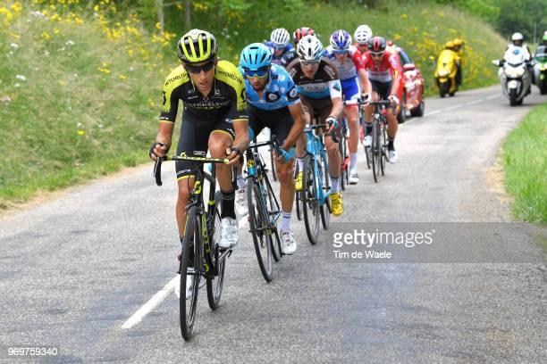 Carlos Verona of Spain and Team MitcheltonScott / Dario Cataldo of Italy and Astana Pro Team Polka Dot Mountain Jersey / Alexis Gougeard of France...