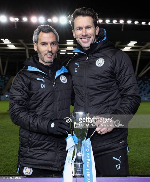 Carlos Vicens Assistant Manager and Gareth Taylor Manager of Manchester City celebrate with the trophy during the Under 18's Premier League 2 Cup...