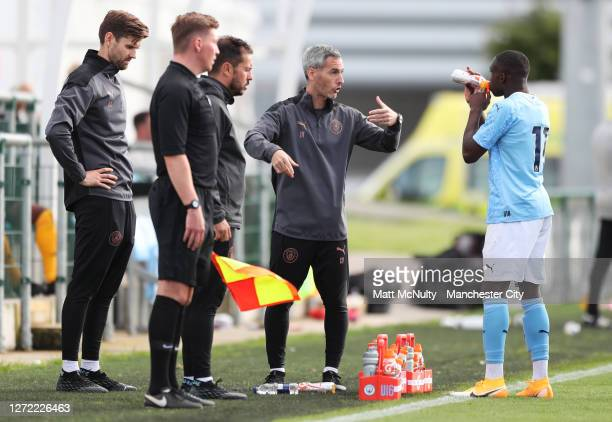Carlos Vicens, Head Coach of Manchester City U18's during the Premier League 2 match between Manchester City and Derby County at Manchester City...