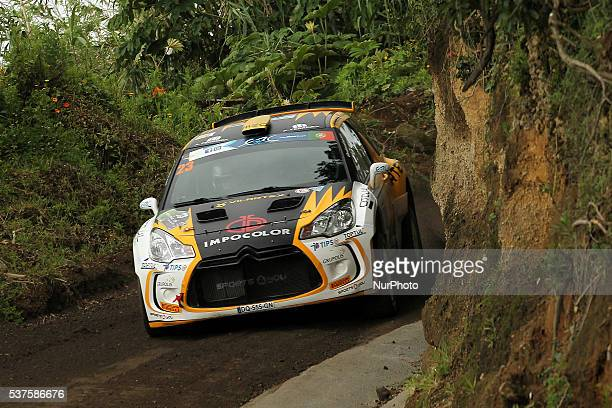 Carlos Vieira and Jorge Carvalho in Citroen DS3 R5 of Sports and You during the shakedow of the FIA ERC Azores Airlines Rallye 2016 in Ponta Delgada...