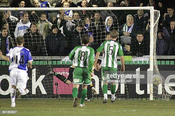 Carlos Villanueva of Blackburn scores with a freekick during a FA Cup third round football match between Blyth Spartans and Blackburn Rovers at Croft...