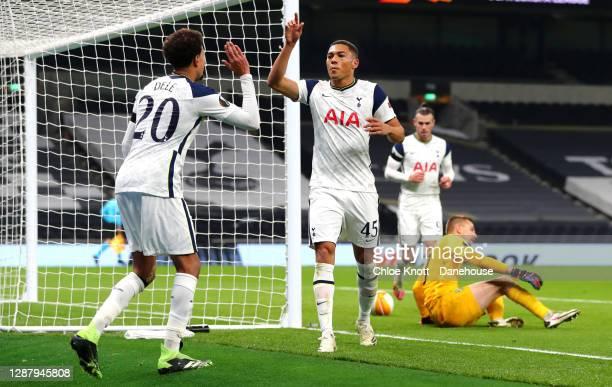 Carlos vinícius of Tottenham Hotspur celebrates scoring his teams second goal during the UEFA Europa League Group J stage match between Tottenham...