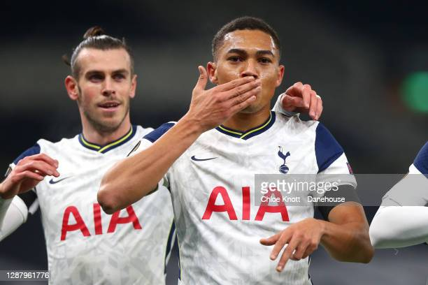 Carlos vinícius of Tottenham Hotspur celebrates scoring his teams first goal during the UEFA Europa League Group J stage match between Tottenham...