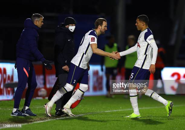Carlos Vinícius of Tottenham Hotspur is substituted and replaced by Harry Kane of Tottenham Hotspur during The Emirates FA Cup Fourth Round match...