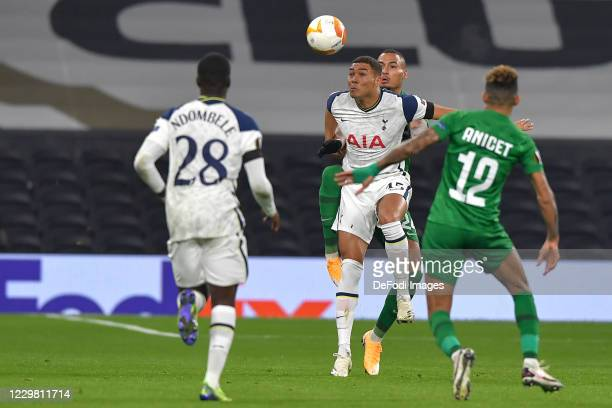 Carlos Vinicius of Tottenham Hotspur and Olivier VERDON of Ludogorets battle for the ball during the UEFA Europa League Group J stage match between...