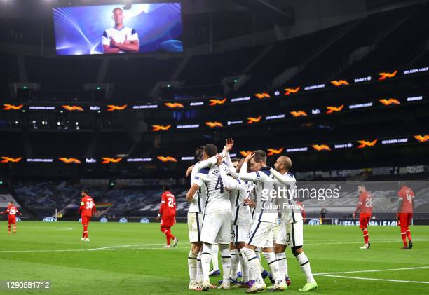 Carlos Vinicius of Tottenham Hotspur celebrates after scoring their team's first goal with his team mates during the UEFA Europa League Group J stage...