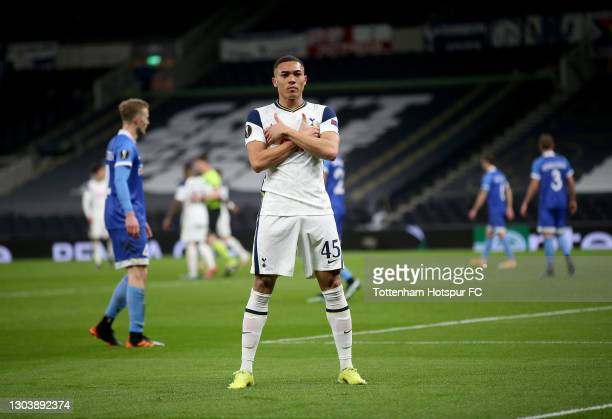 Carlos Vinicius of Tottenham Hotspur celebrates after scoring their team's second goal during the UEFA Europa League Round of 32 match between...
