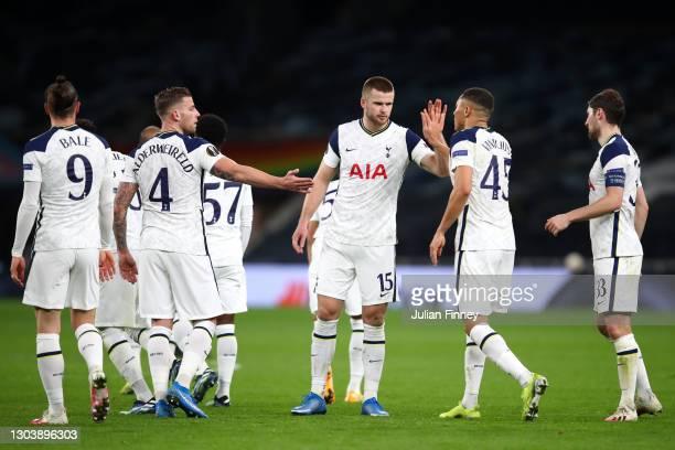 Carlos Vinicius of Tottenham Hotspur celebrates with Gareth Bale, Toby Alderweireld, Eric Dier and Ben Davies after scoring their team's fourth goal...