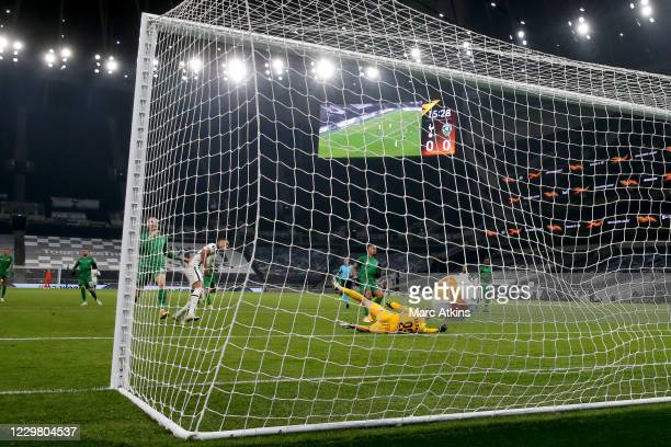 Carlos Vinicius of Tottenham Hotspur scores his 1st goal during the UEFA Europa League Group J stage match between Tottenham Hotspur and PFC...
