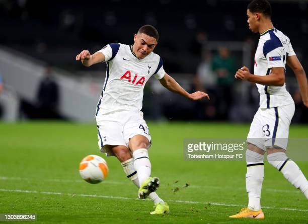 Carlos Vinicius of Tottenham Hotspur scores their side's fourth goal during the UEFA Europa League Round of 32 match between Tottenham Hotspur and...