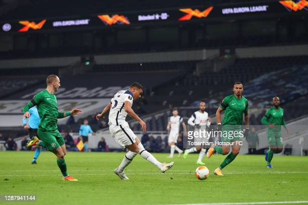 Carlos Vinicius of Tottenham Hotspur scores their team's first goal during the UEFA Europa League Group J stage match between Tottenham Hotspur and...