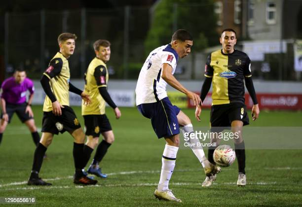 Carlos Vinicius of Tottenham Hotspur scores their team's fourth goal and his hat-trick during the FA Cup Third Round match between Marine and...
