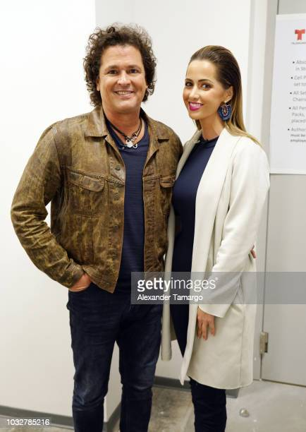 Carlos Vives and Paulina Sodi are seen on the set of Un Nuevo Dia at Telemundo Center on September 13 2018 in Miami Florida