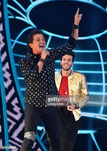 Carlos Vives and Sebastian Yatra perform onstage during The 18th Annual Latin Grammy Awards at MGM Grand Garden Arena on November 16 2017 in Las...