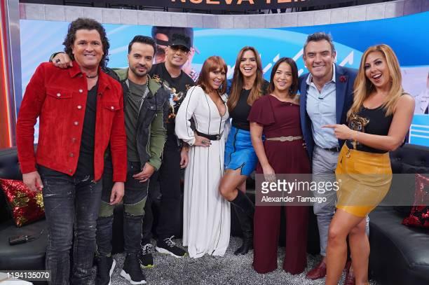 "Carlos Vives, Luis Fonsi, Wisin, Alejandra Guzman, Rashel Diaz, Adamari Lopez, Hector Sandarti and Stephanie Himonidis are seen on the set of ""Un..."