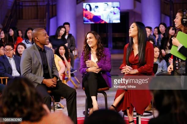 Carlos Watson Harmeet Dhillon and Kimora Lee Simmons record a TV debate for Take On America With OZY at The Bently Reserve on October 29 2018 in San...