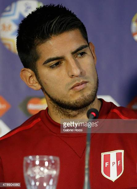 Carlos Zambrano of Peru looks on during a press conference prior to the semi final match against Chile at Nacional Stadium as part of 2015 Copa...