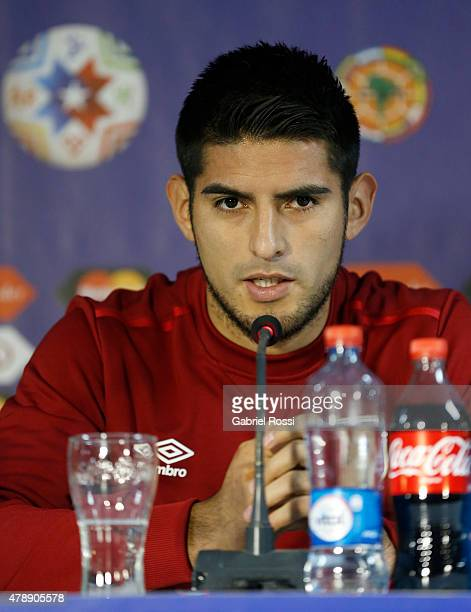 Carlos Zambrano of Peru talks during a press conference prior to the semi final match against Chile at Nacional Stadium as part of 2015 Copa America...