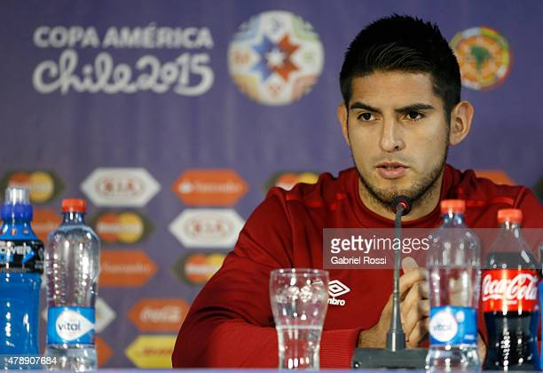Carlos Zambrano of Peru, talks during a press conference prior to the semi final match against Chile at Nacional Stadium as part of 2015 Copa America...