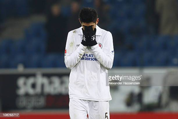 Carlos Zambrano of St. Pauli reacts after the Bundesliga match between 1899 Hoffenheim and FC St. Pauli at Rhein-Neckar Arena on January 23, 2011 in...