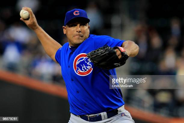 Carlos Zambrano of the Chicago Cubs pitches against the New York Met on April 20, 2010 at Citi Field in the Flushing neighborhood of the Queens...