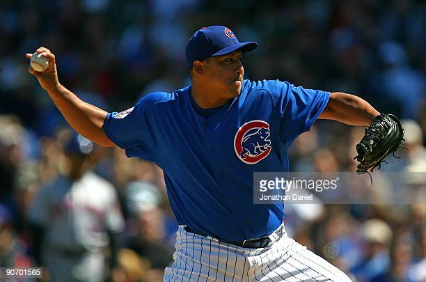 Carlos Zambrano of the Chicago Cubs pitches against the New York Mets on August 30, 2009 at Wrigley Field in Chicago, Illinois. The Mets defeated the...