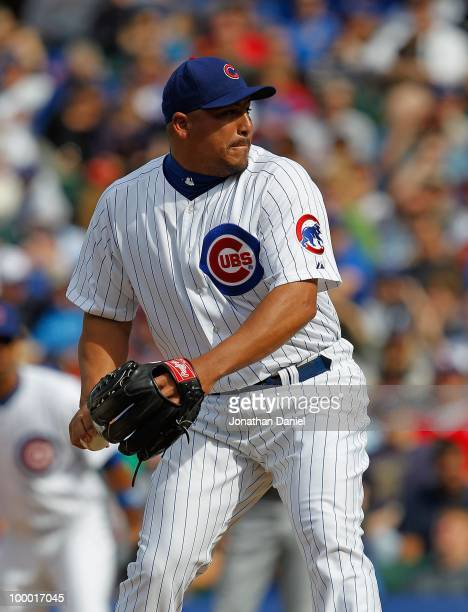Carlos Zambrano of the Chicago Cubs pitches against the Pittsburgh Pirates at Wrigley Field on May 14, 2010 in Chicago, Illinois. The Pirates...
