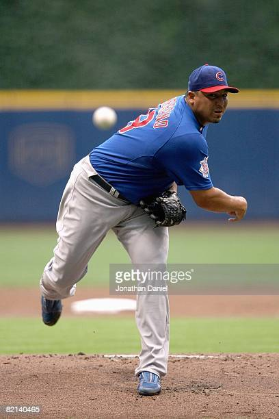 Carlos Zambrano of the Chicago Cubs pitches during the game against the Milwaukee Brewers on July 29, 2008 at Miller Park in Milwaukee, Wisconsin.