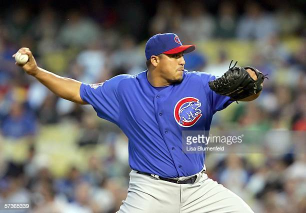 Carlos Zambrano of the Chicago Cubs pitches in the first inning against the Los Angeles Dodgers on April 18 2006 at Dodger Stadium in Los Angeles...