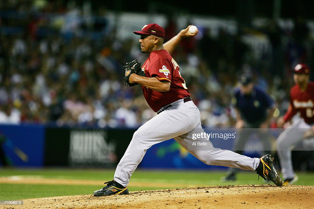 Carlos Zambrano #38 of Venezuela pitches against Puerto Rico in the second round of the World Baseball Classic at Hiram Bithorn Stadium on March 13, 2006 in San Juan, Puerto Rico. Venezuela defeated Puerto Rico 6-0.