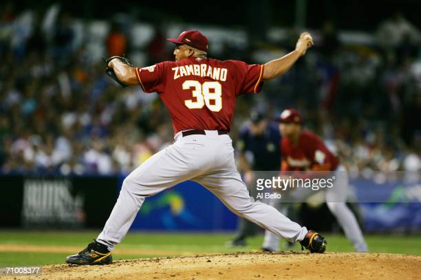 Carlos Zambrano of Venezuela pitches against Puerto Rico in the second round of the World Baseball Classic at Hiram Bithorn Stadium on March 13 2006...